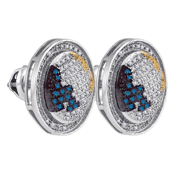 Sterling Silver Mens Round Blue Yellow Color Enhanced Diamond Circle Stud Earrings 3/4 Cttw
