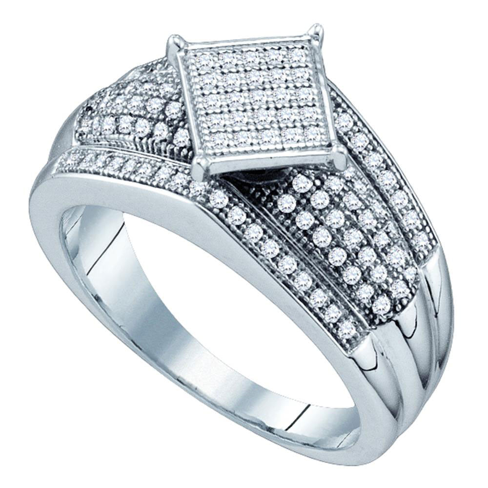 10kt White Gold Womens Round Diamond Elevated Square Cluster Ring 1/3 Cttw