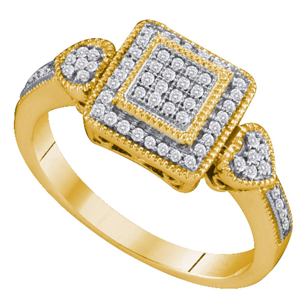 10kt Yellow Gold Womens Round Diamond Square Cluster Diamond-accent Ring 1/5 Cttw