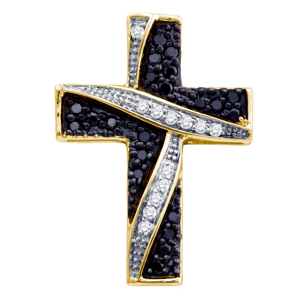 10k Yellow Gold Black Color Enhanced Diamond Womens Asymmetric Christian Cross Religious Pendant 1/4 Cttw