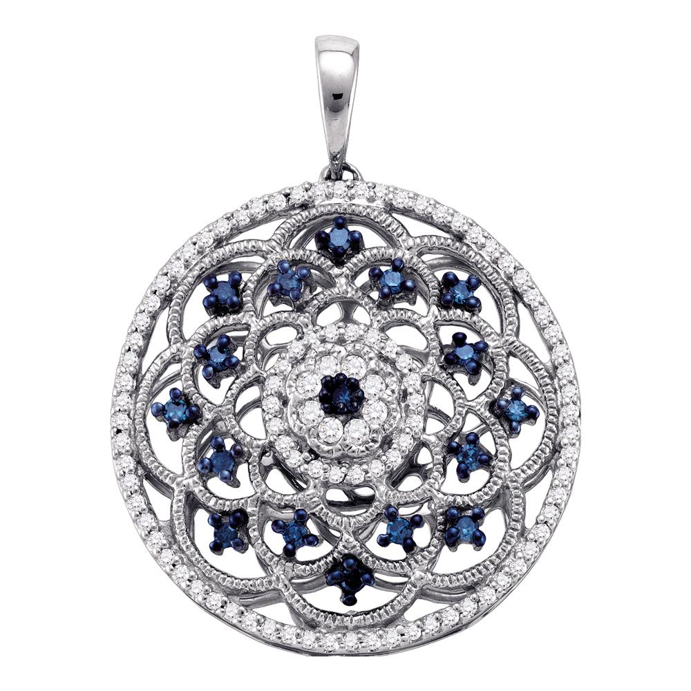 10kt White Gold Womens Round Blue Color Enhanced Diamond Circle Pendant 1/2 Cttw