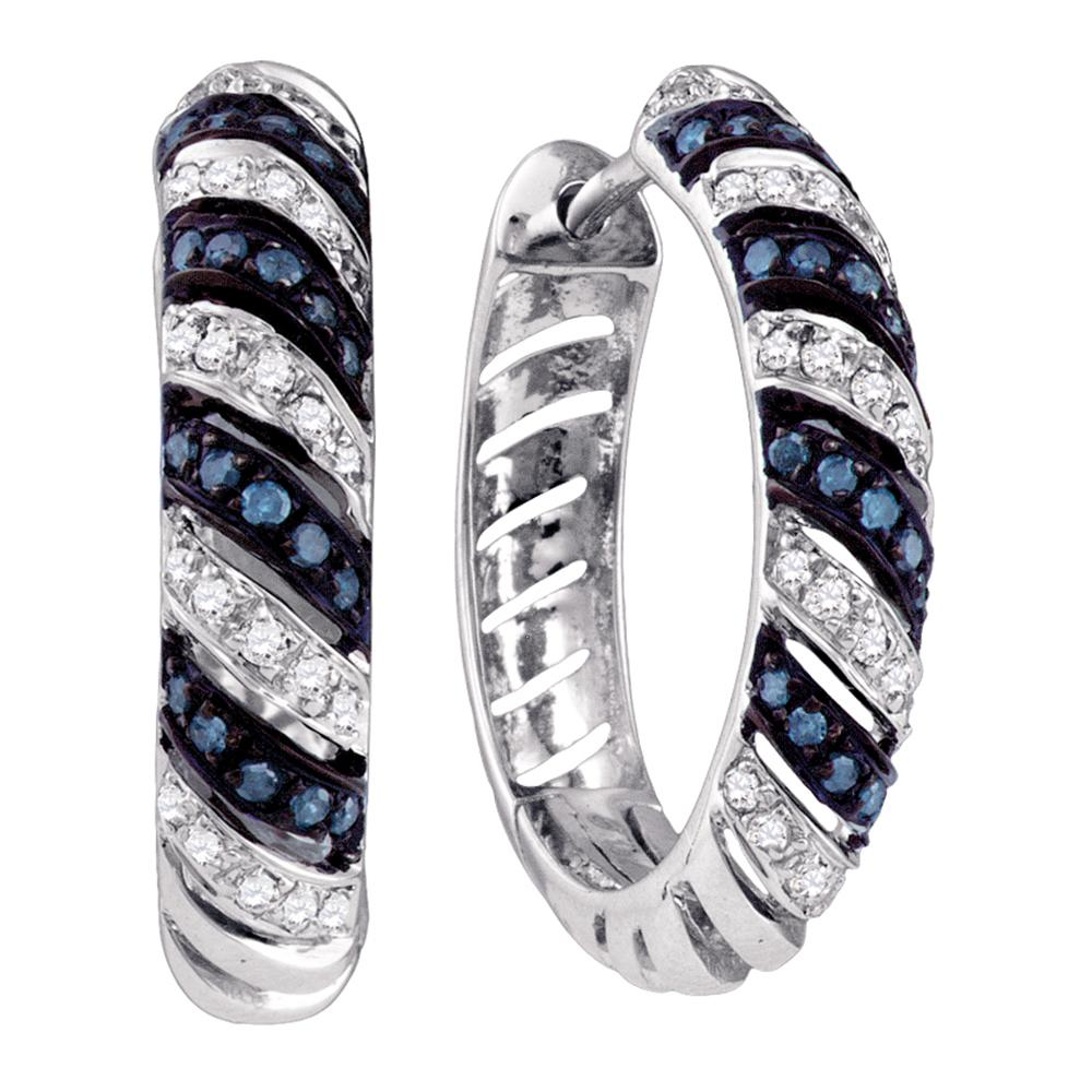 10k White Gold Blue Color Enhanced Round Diamond Womens Horiztonal Stripe Lightweight Hoop Earrings 1/2 Cttw
