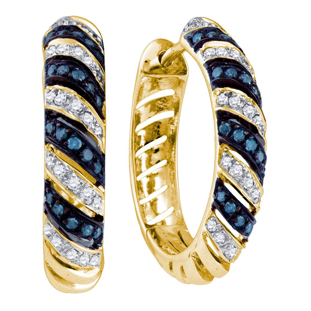 10k Yellow Gold Blue Color Enhanced Round Diamond Womens Horiztonal Stripe Lightweight Hoop Earrings 1/2 Cttw