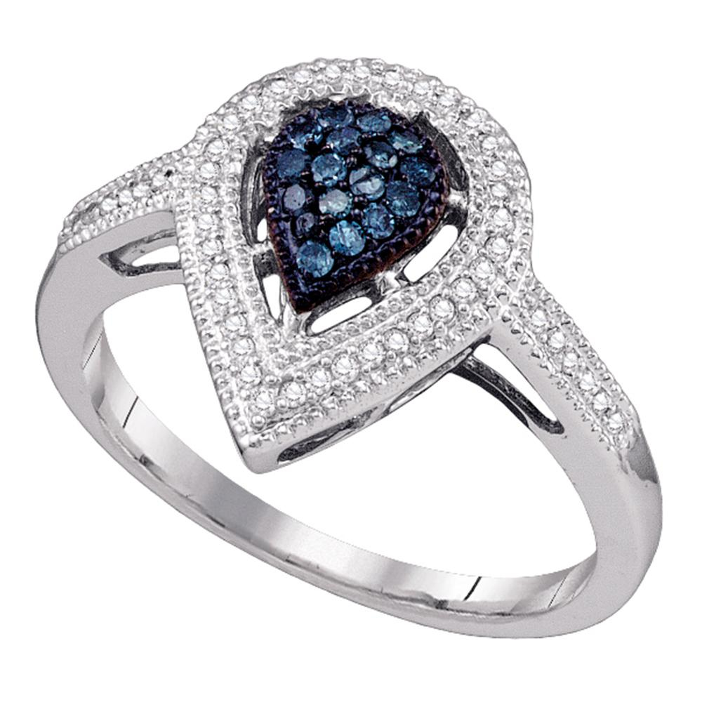 14kt White Gold Womens Round Blue Color Enhanced Diamond Teardrop Cluster Ring 1/4 Cttw