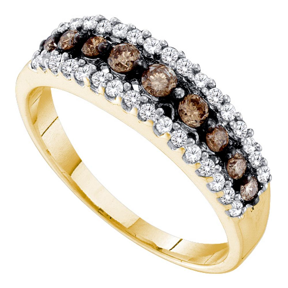 14k Yellow Gold Womens Cognac-brown Color Enhanced Diamond Band Ring 1/2 Cttw