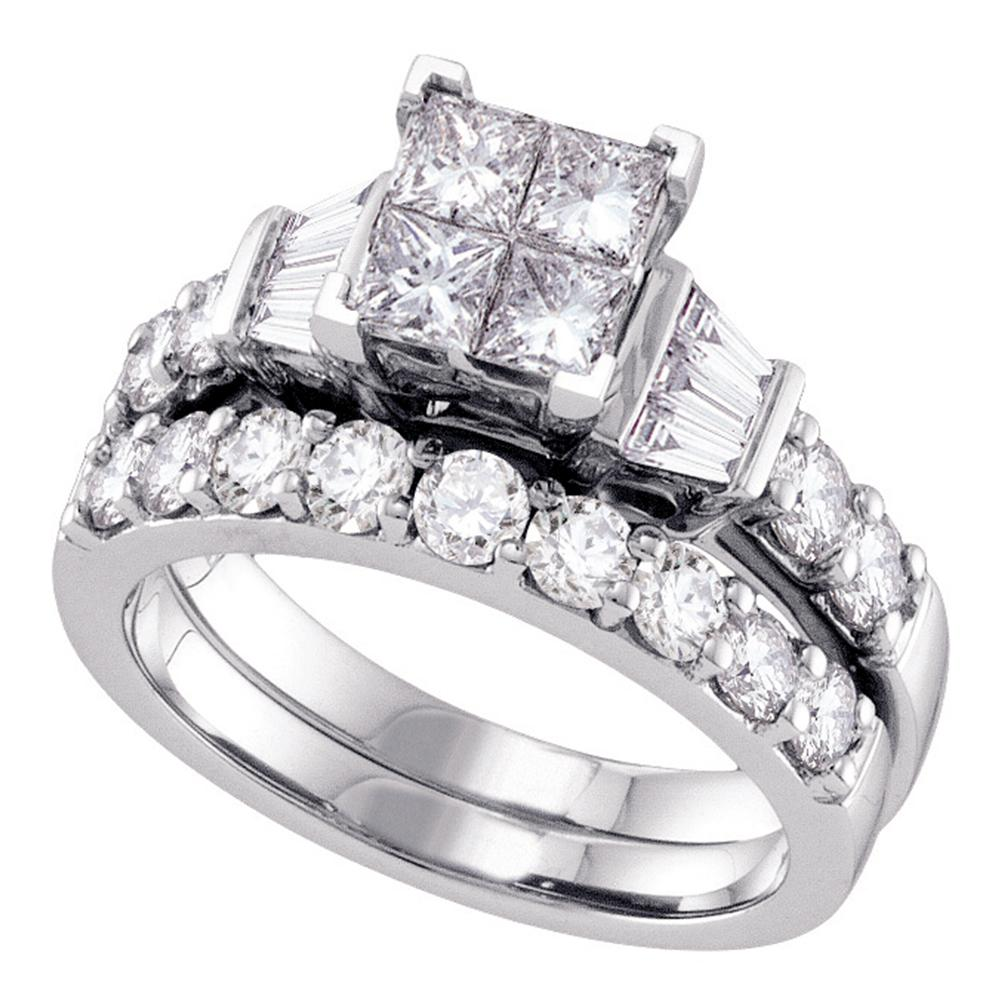 14k White Gold Womens Princess Diamond Invisible-set Wedding Bridal Engagement Ring Set 1 Cttw