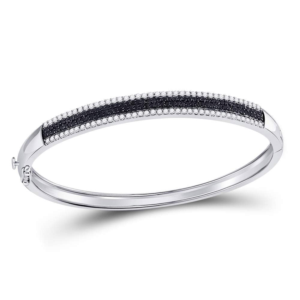 14kt White Gold Womens Round Black Color Enhanced Diamond Bangle Bracelet 1-3/8 Cttw