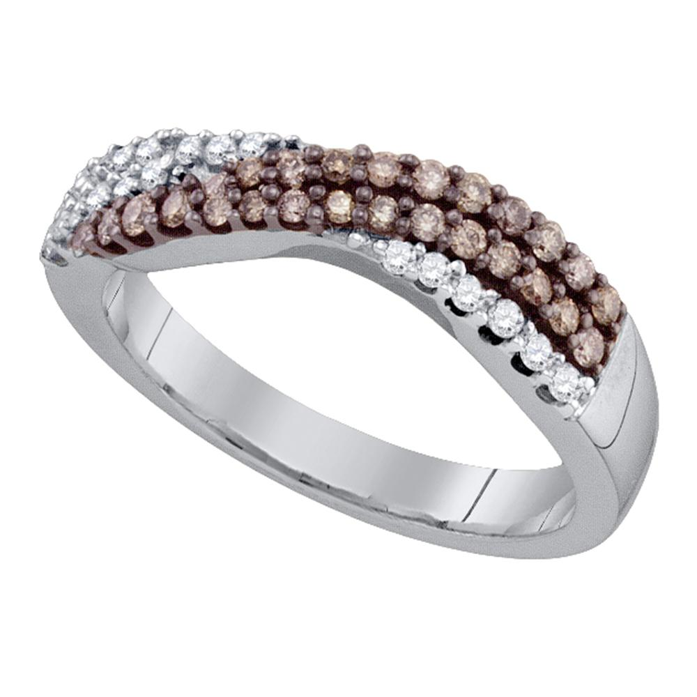 10kt White Gold Womens Round Cognac-brown Color Enhanced Diamond Crossover Band Ring 3/8 Cttw
