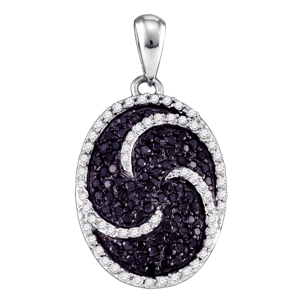 10k White Gold Black Color Enhanced Round Cluster Diamond Womens Pendant 3/4 Cttw