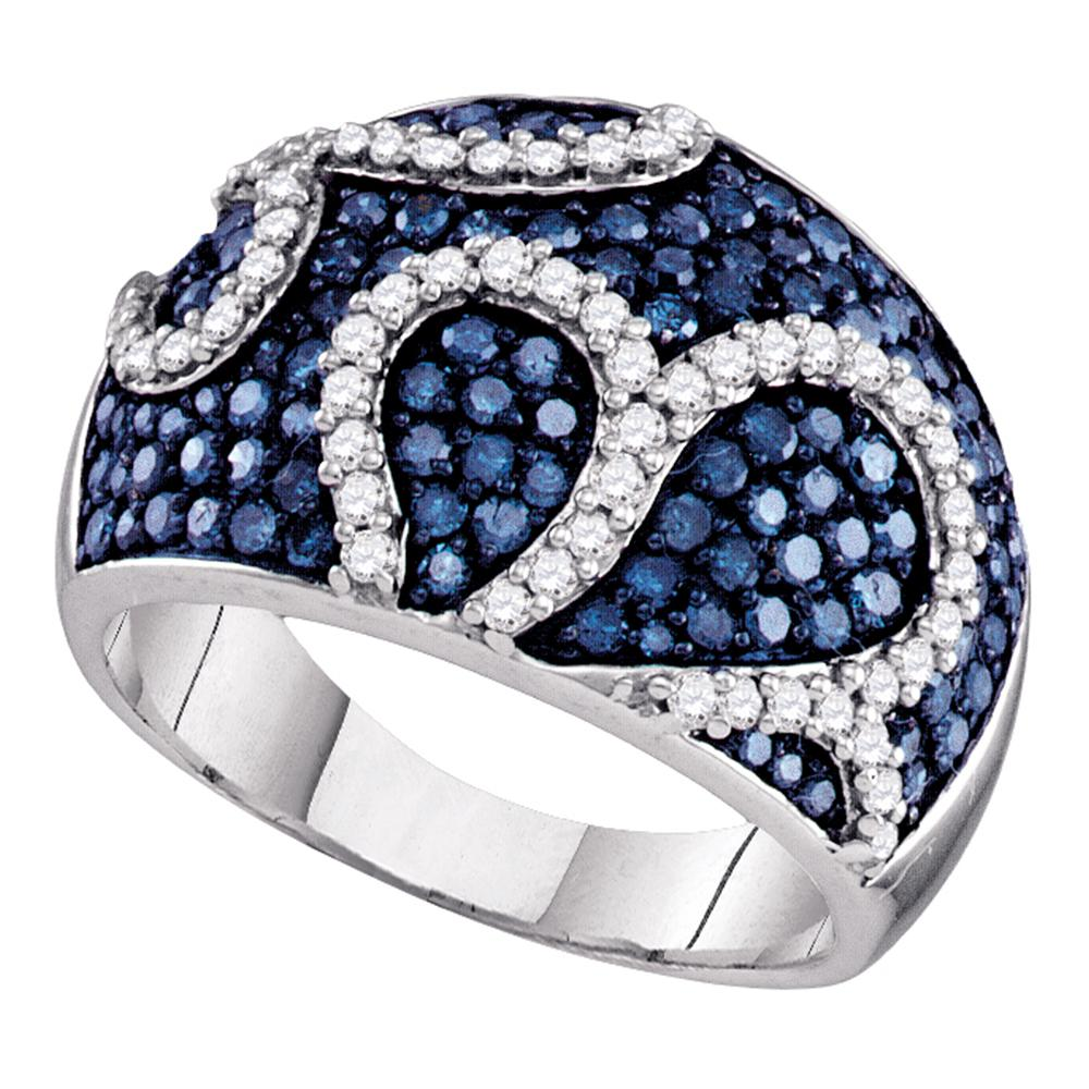 10kt White Gold Womens Round Blue Color Enhanced Diamond Striped Fashion Ring 1-3/8 Cttw