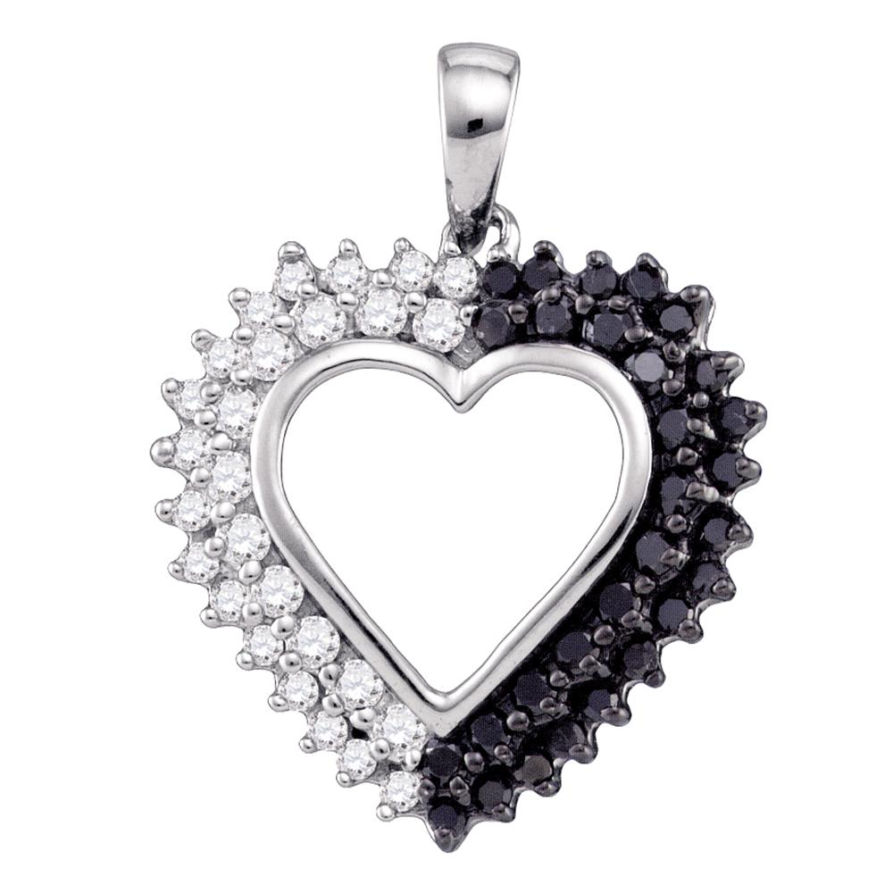 10k White Gold Womens Black Color Enhanced Diamond Heart Love Anniversary Pendant 1/2 Cttw