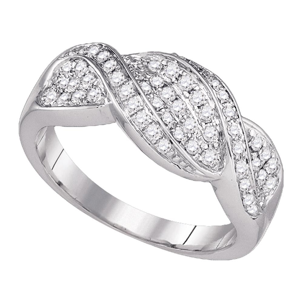 14k White Gold Womens Round Diamond Crossover Band Ring 1/2 Cttw