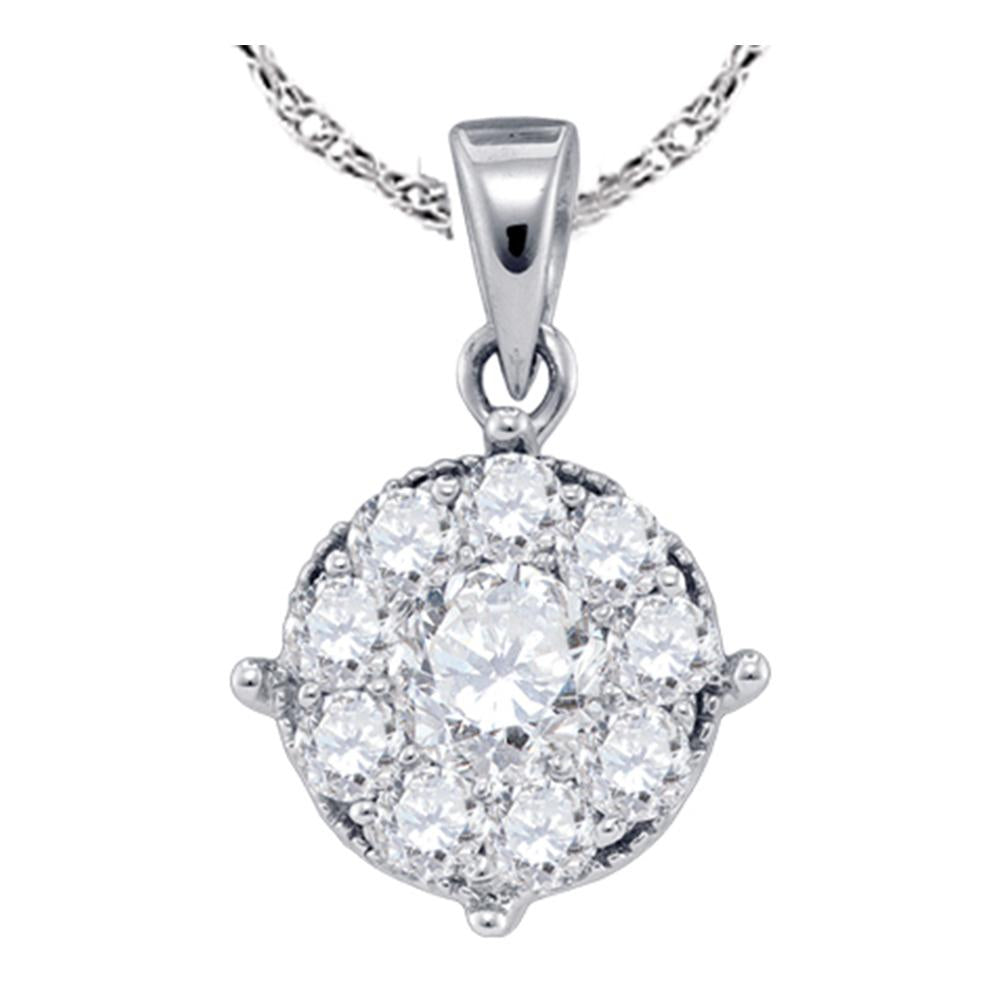 14kt White Gold Womens Round Diamond Cluster Pendant 1/4 Cttw