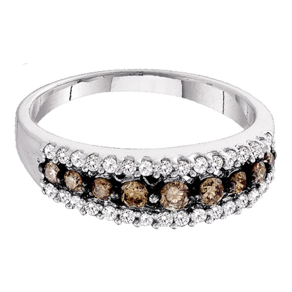 10k White Gold Womens Cognac-brown Color Enhanced Diamond Band Ring 1/2 Cttw Size 6