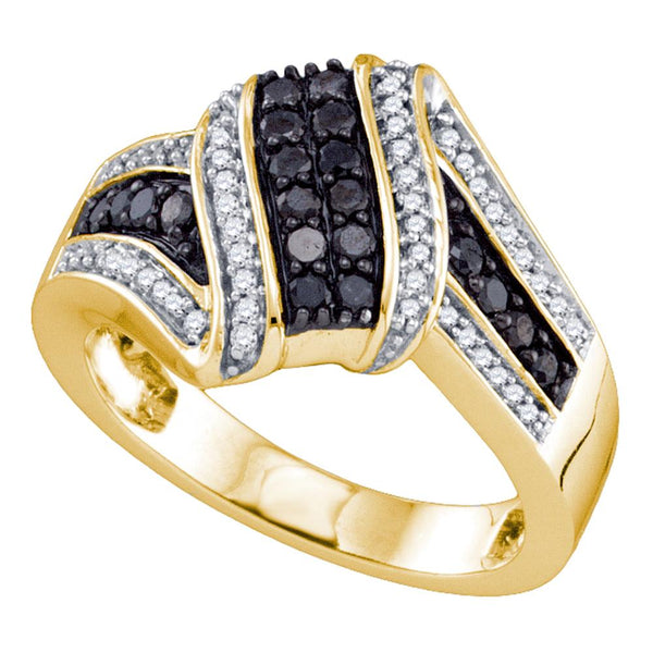 10kt Yellow Gold Womens Round Black Color Enhanced Diamond Cluster Ring 1/2 Cttw