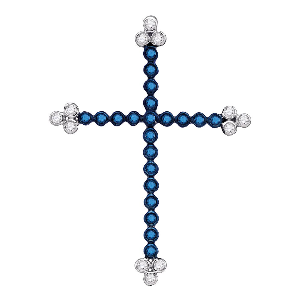 10kt White Gold Womens Round Blue Color Enhanced Diamond Cross Faith Pendant 1/3 Cttw