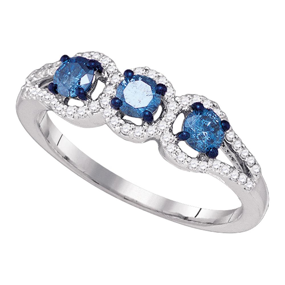 10kt White Gold Womens Round Blue Color Enhanced Diamond 3-stone Bridal Wedding Engagement Ring 5/8 Cttw
