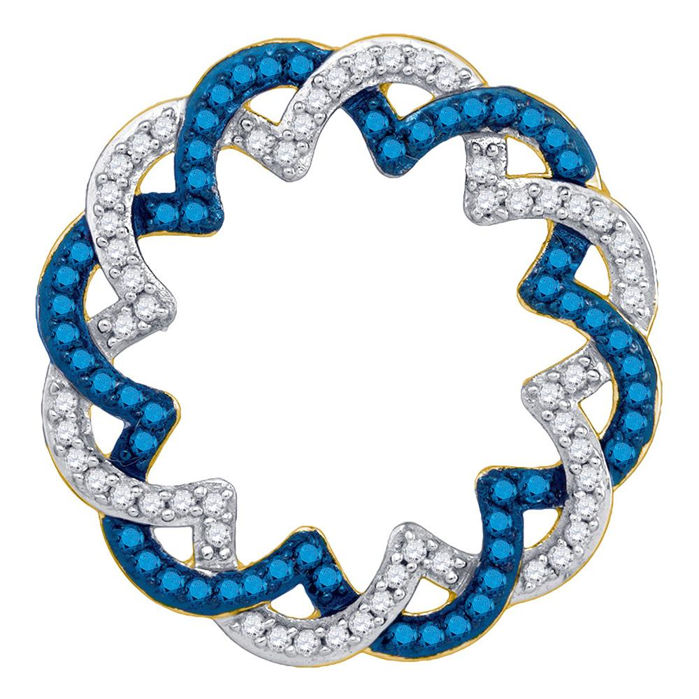 10kt Yellow Gold Womens Round Blue Color Enhanced Diamond Circle Pendant 1/3 Cttw