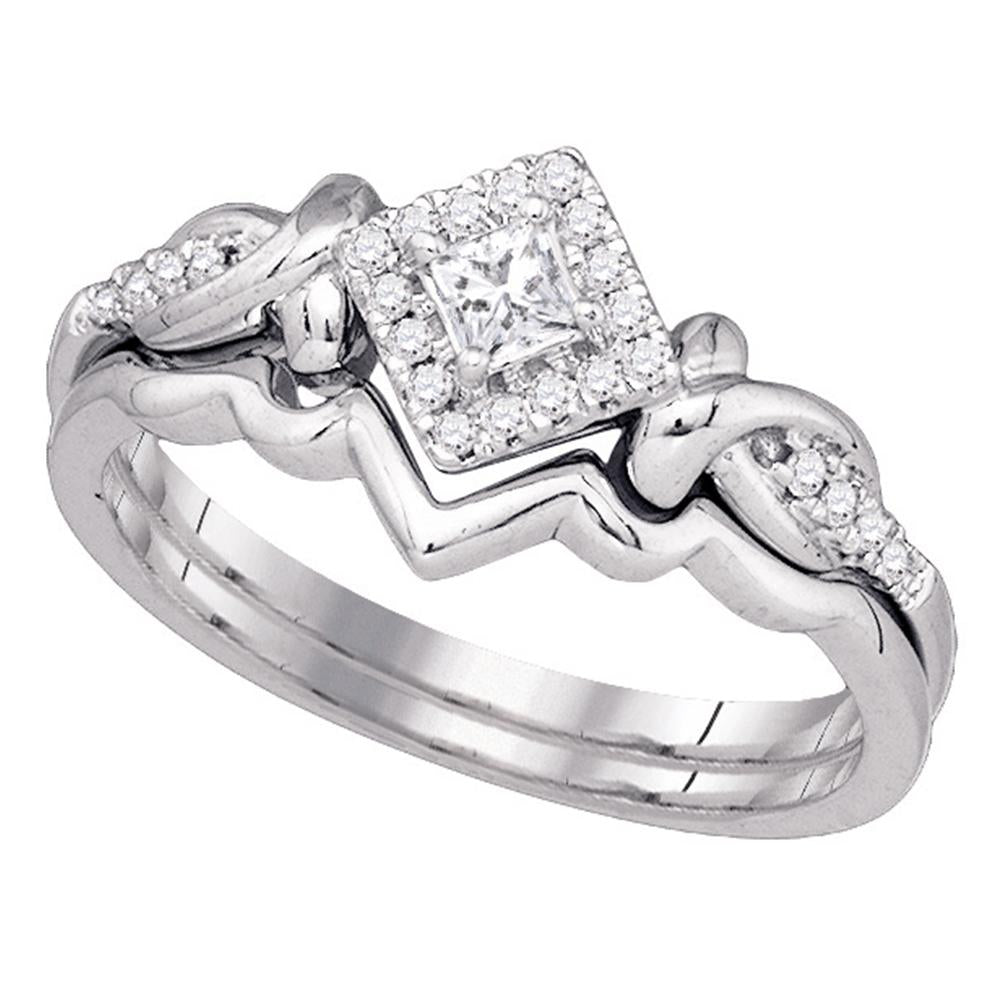10k White Gold Womens Princess Diamond Bridal Wedding Engagement Ring Band Set 1/4 Cttw