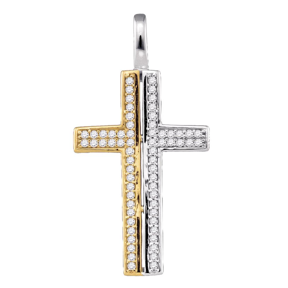 10kt Two-tone Gold Womens Round Diamond Cross Pendant 1/5 Cttw