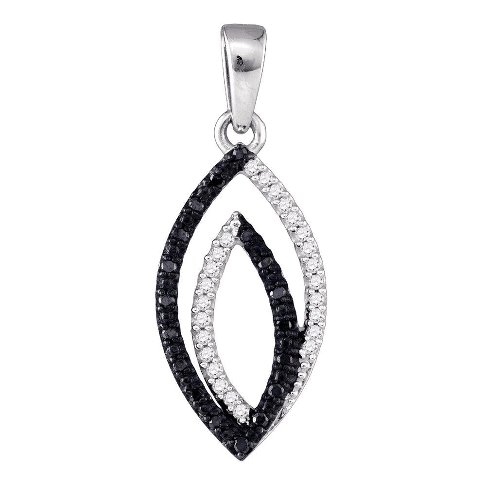 10kt White Gold Womens Round Black Color Enhanced Diamond Oval Pendant 1.00 Cttw