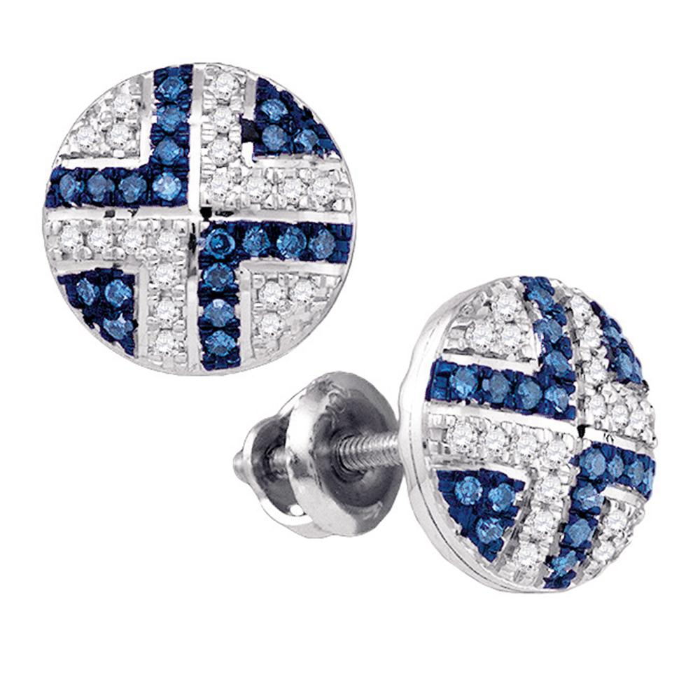 10kt White Gold Womens Round Blue Color Enhanced Diamond Cluster Earrings 1/5 Cttw