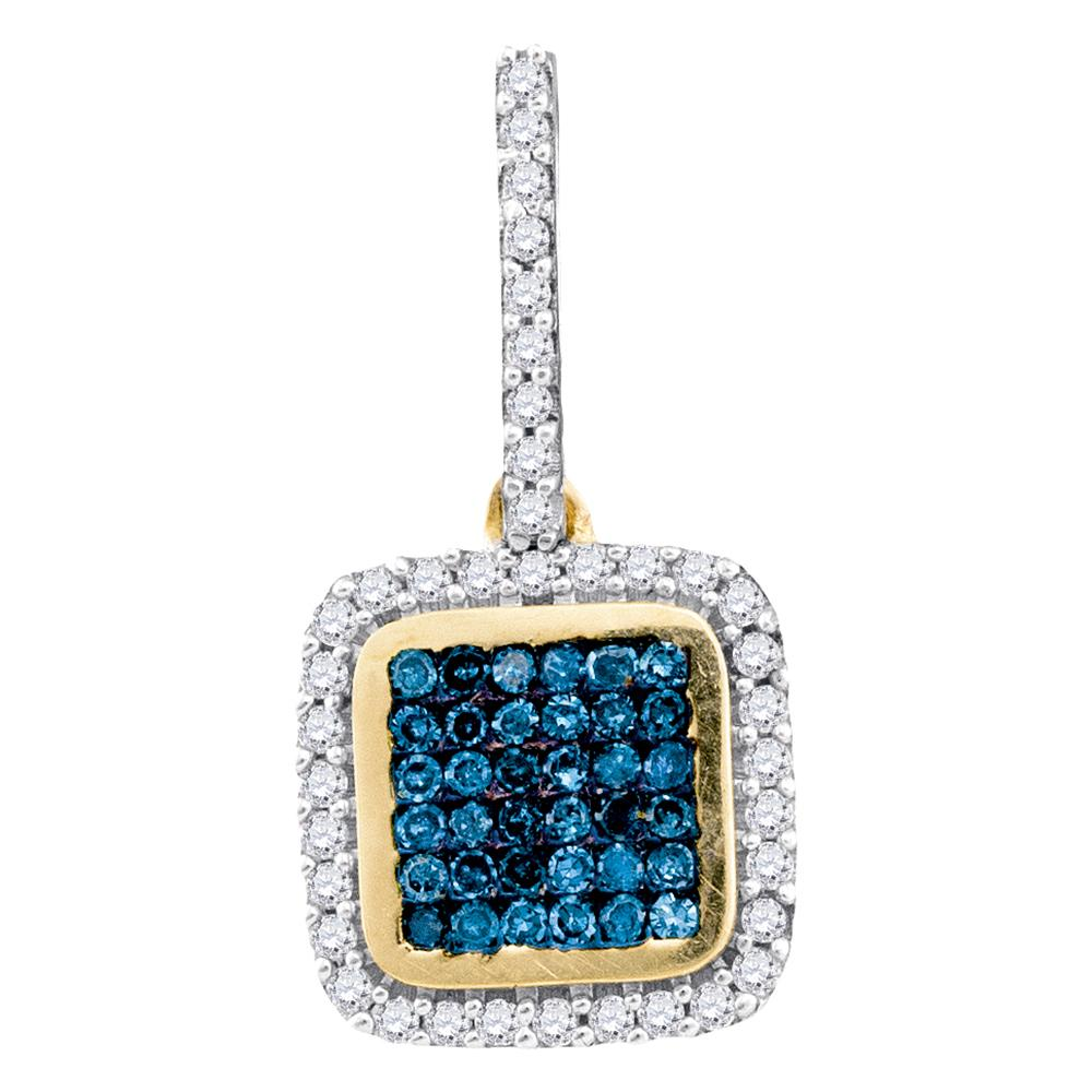 10kt Yellow Gold Womens Round Blue Color Enhanced Diamond Square Frame Cluster Pendant 1/4 Cttw