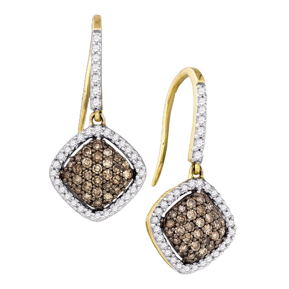 10kt Yellow Gold Womens Round Cognac-brown Color Enhanced Diamond Square Dangle Earrings 5/8 Cttw