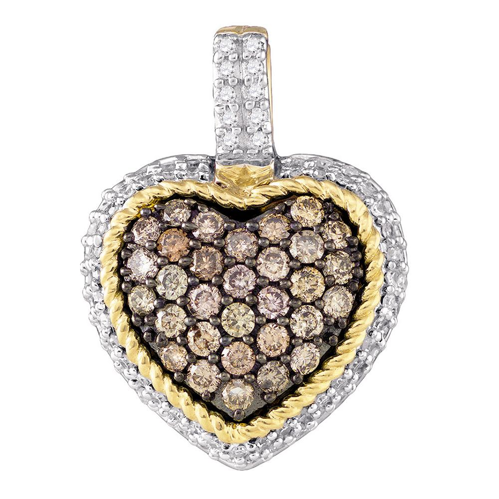 10kt Yellow Gold Womens Round Cognac-brown Color Enhanced Diamond Rope Heart Pendant 5/8 Cttw