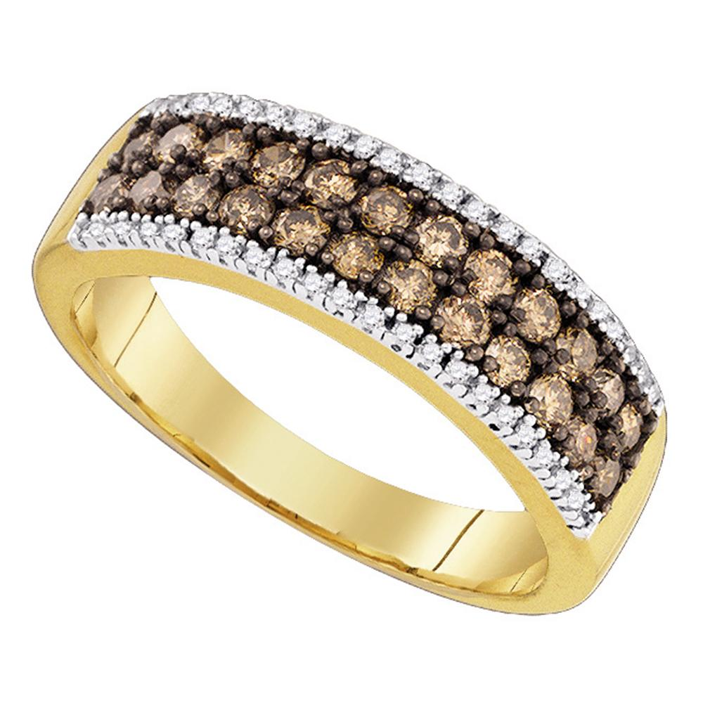 14kt Yellow Gold Womens Round Cognac-brown Color Enhanced Diamond 2-row Band Ring 3/4 Cttw