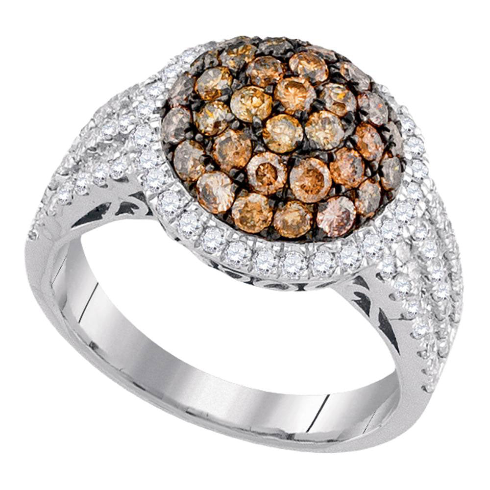 10kt White Gold Womens Round Brown Diamond Cluster Ring 2.00 Cttw