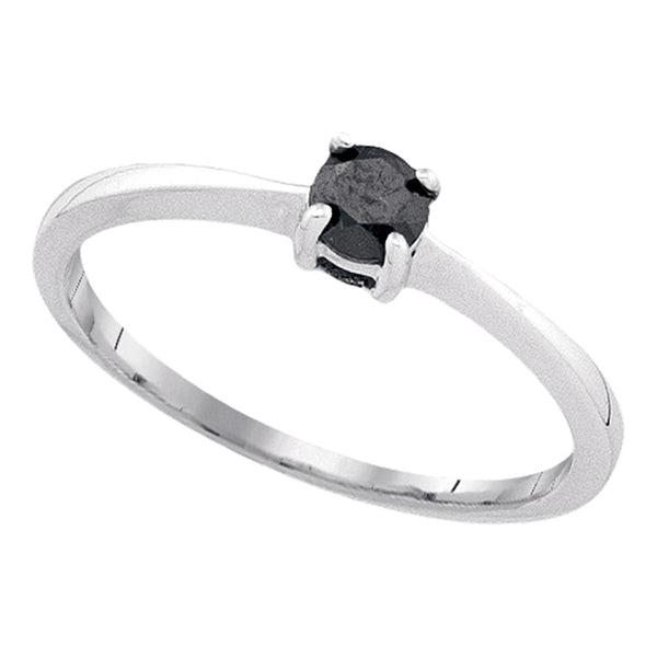10kt White Gold Womens Round Black Color Enhanced Diamond Solitaire Bridal Wedding Engagement Ring 1/4 Cttw