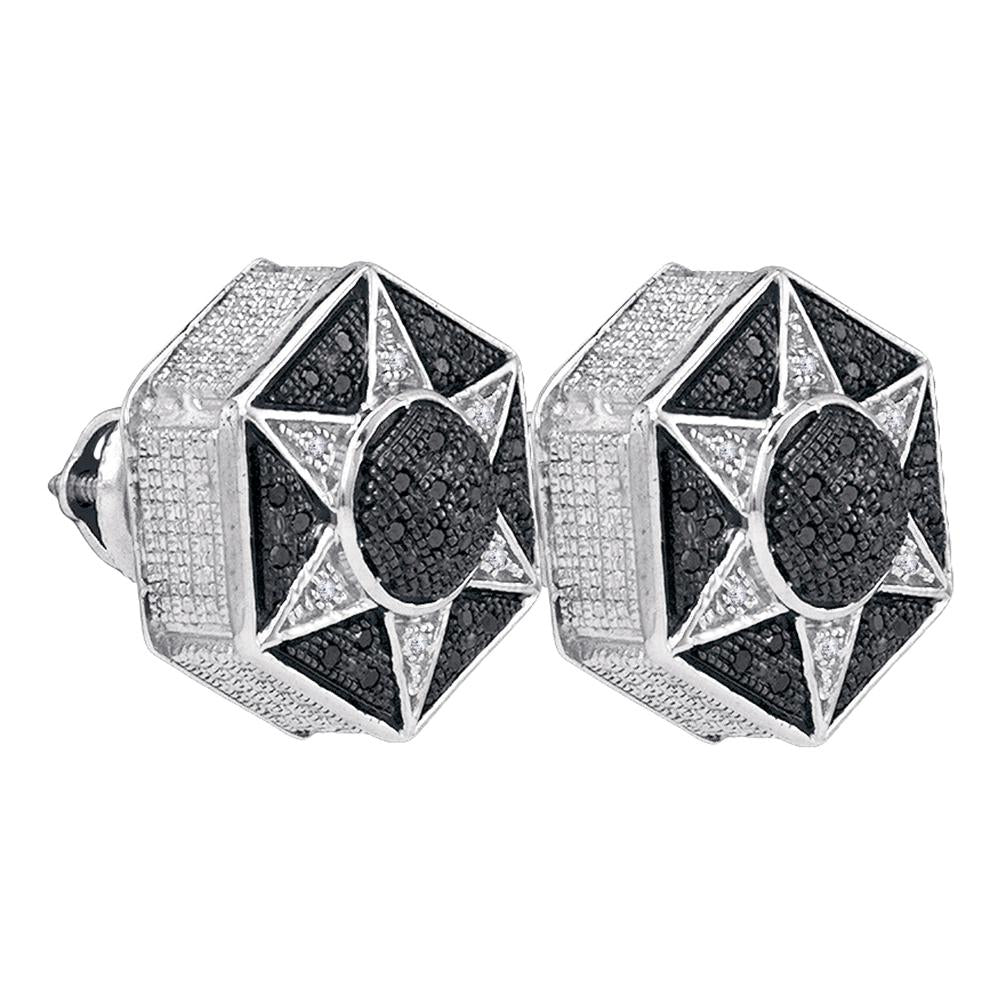 Sterling Silver Round Black Color Enhanced Diamond Hexagon Star Cluster Earrings 1/5 Cttw
