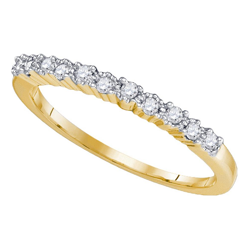 10kt Yellow Gold Womens Round Diamond Slender Single Row Band 1/6 Cttw