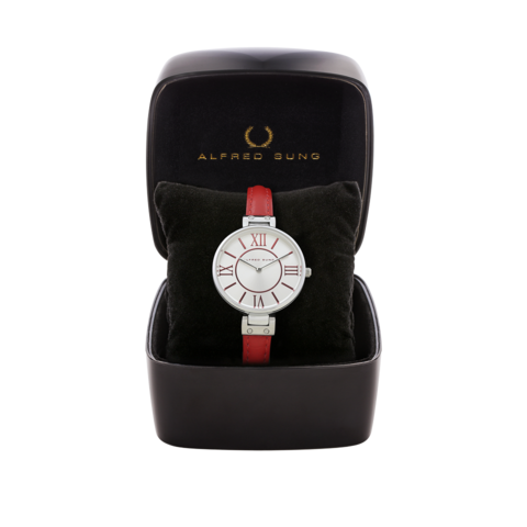 LADIES STRP SS-WHITE DIAL RED INDEX