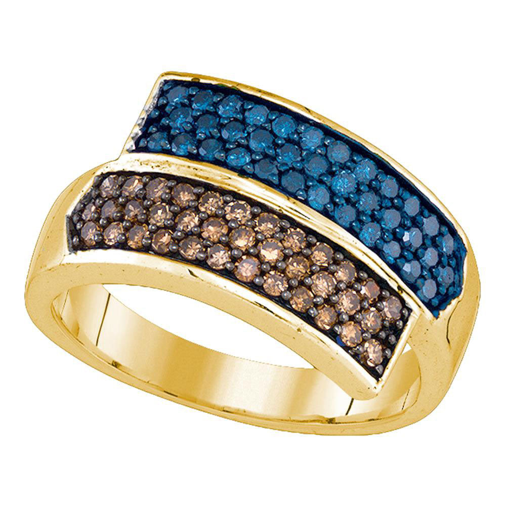 10kt Yellow Gold Womens Round Blue Brown Diamond Band Ring 3/4 Cttw