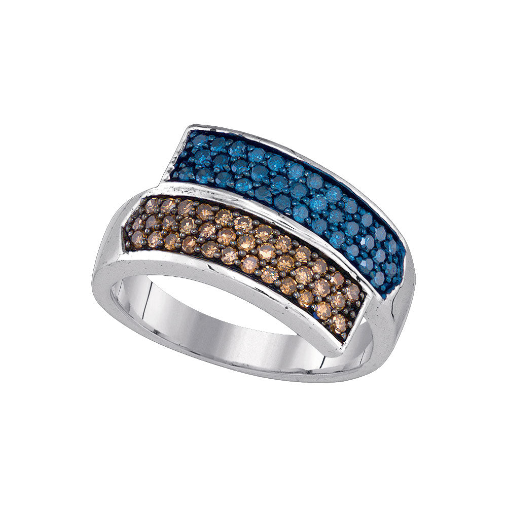 10kt White Gold Womens Round Blue Brown Diamond Band Ring 3/4 Cttw