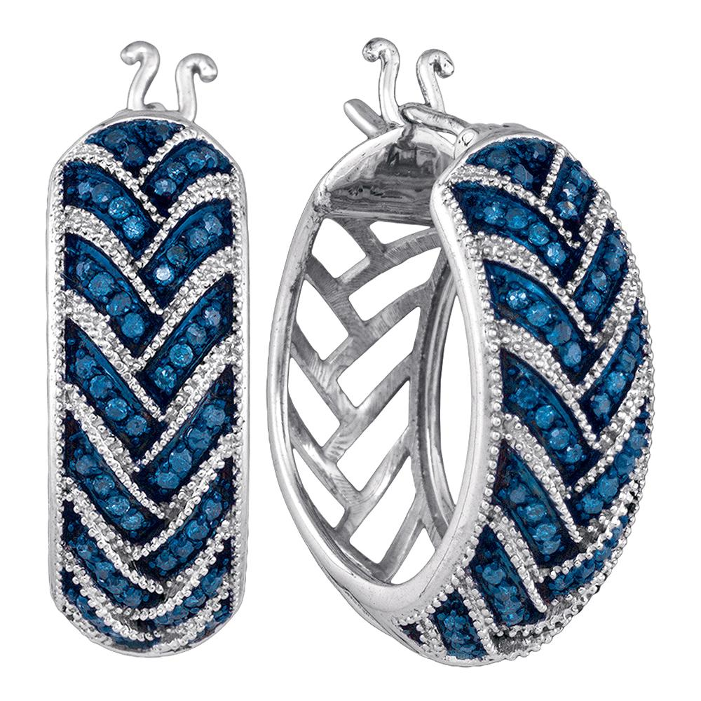 10kt White Gold Womens Round Blue Color Enhanced Diamond Milgrain Hoop Earrings 1/3 Cttw