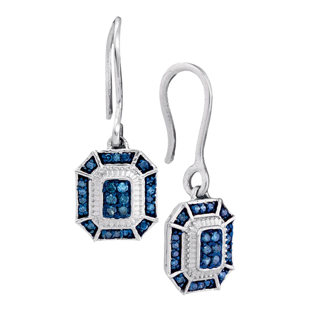 10kt White Gold Womens Round Blue Color Enhanced Diamond Square Dangle Wire Earrings 1/5 Cttw
