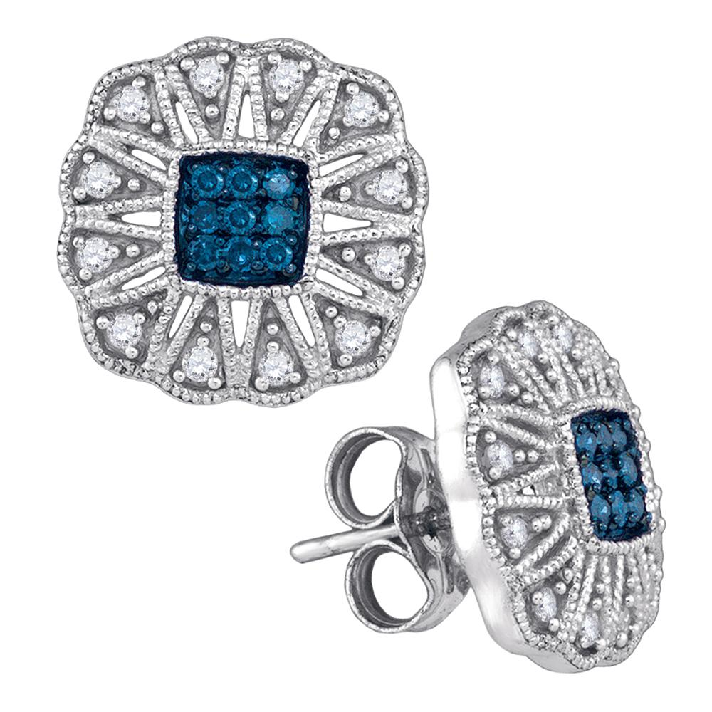 10kt White Gold Womens Round Blue Color Enhanced Diamond Square Starburst Cluster Earrings 1/4 Cttw