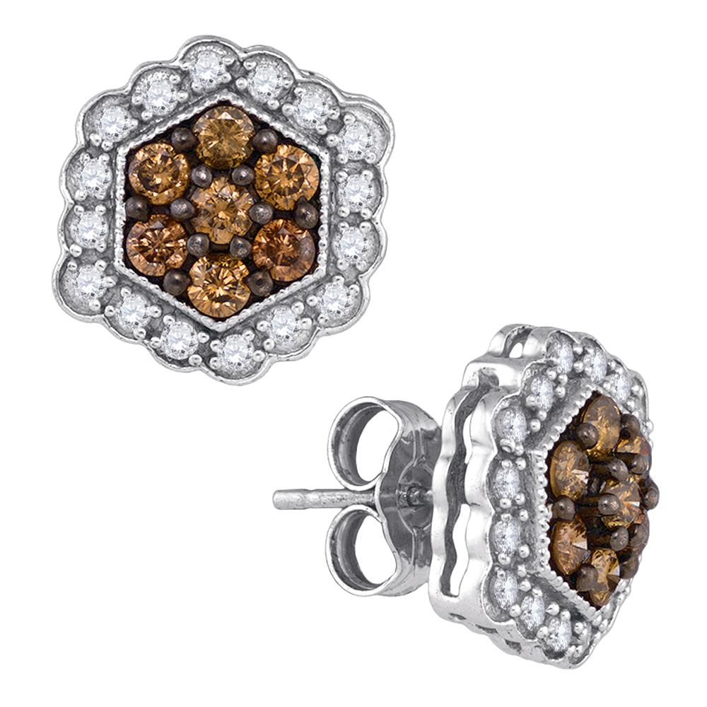 10kt White Gold Womens Round Cognac-brown Color Enhanced Diamond Hexagon Flower Cluster Earrings 7/8 Cttw
