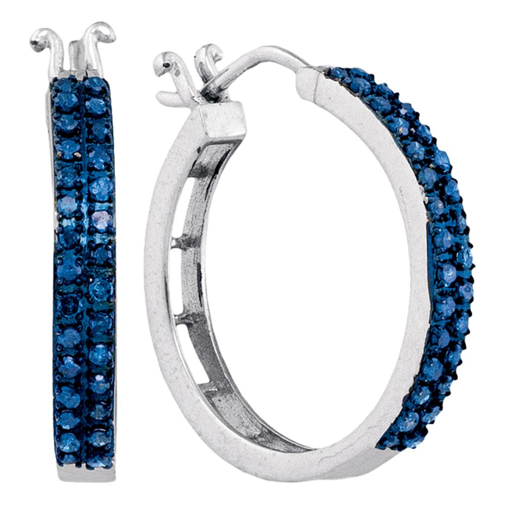 10kt White Gold Womens Round Blue Color Enhanced Diamond Double Row Hoop Earrings 1/2 Cttw