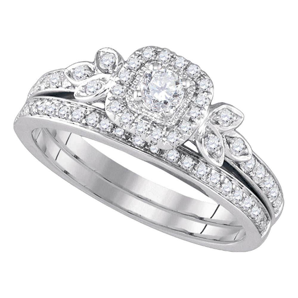 14kt White Gold Womens Round Diamond Floral Halo Bridal Wedding Engagement Ring Band Set 1/2 Cttw