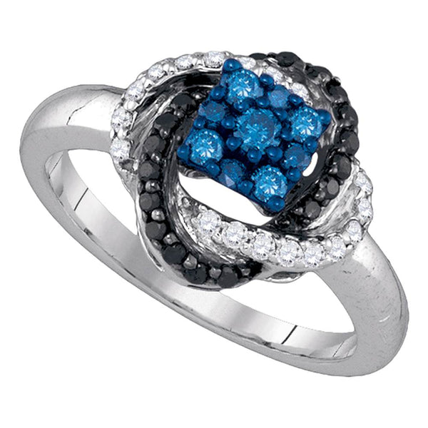 10kt White Gold Womens Round Blue Color Enhanced Diamond Cluster Ring 1/2 Cttw