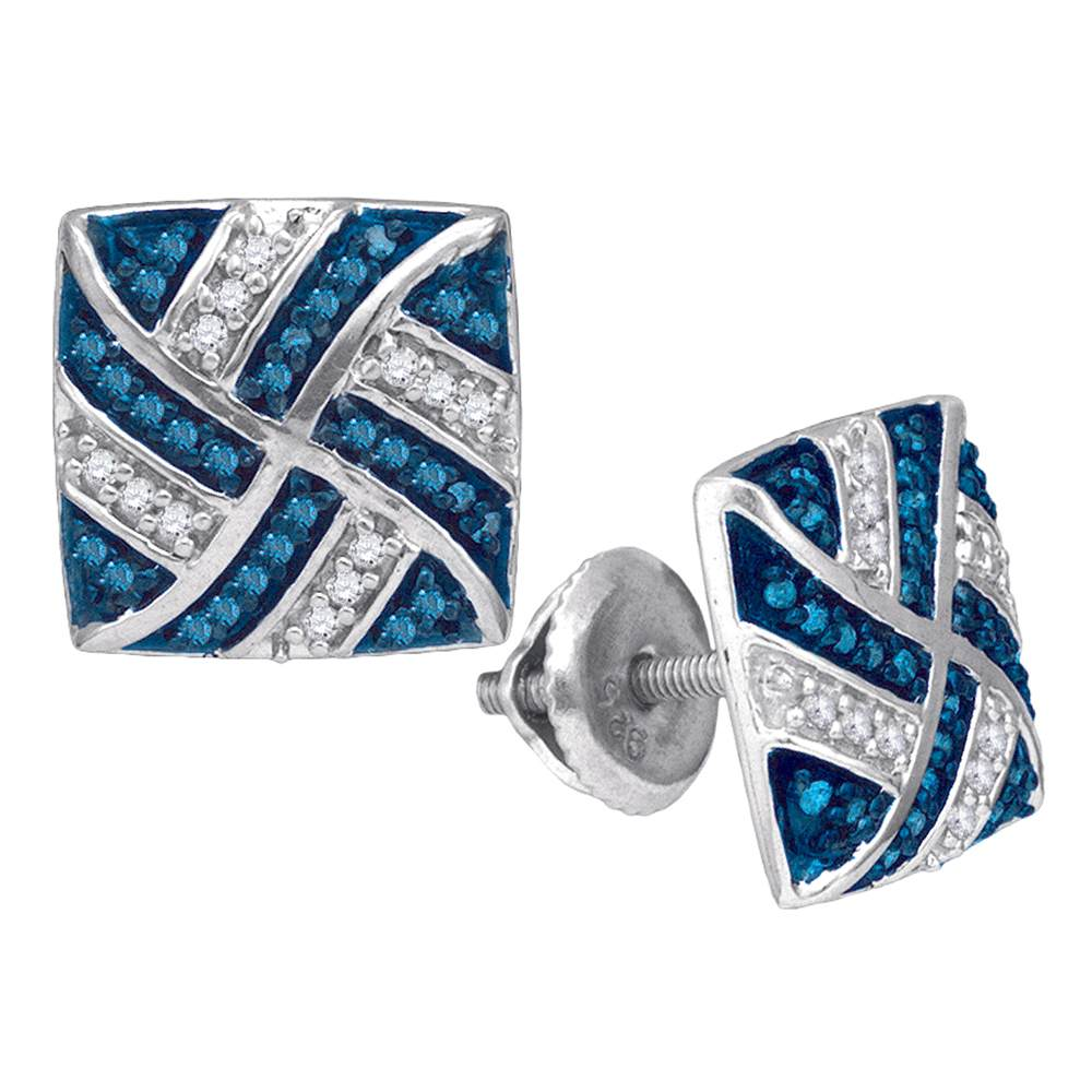 10kt White Gold Womens Round Blue Color Enhanced Diamond Square Pinwheel Cluster Earrings 1/4 Cttw