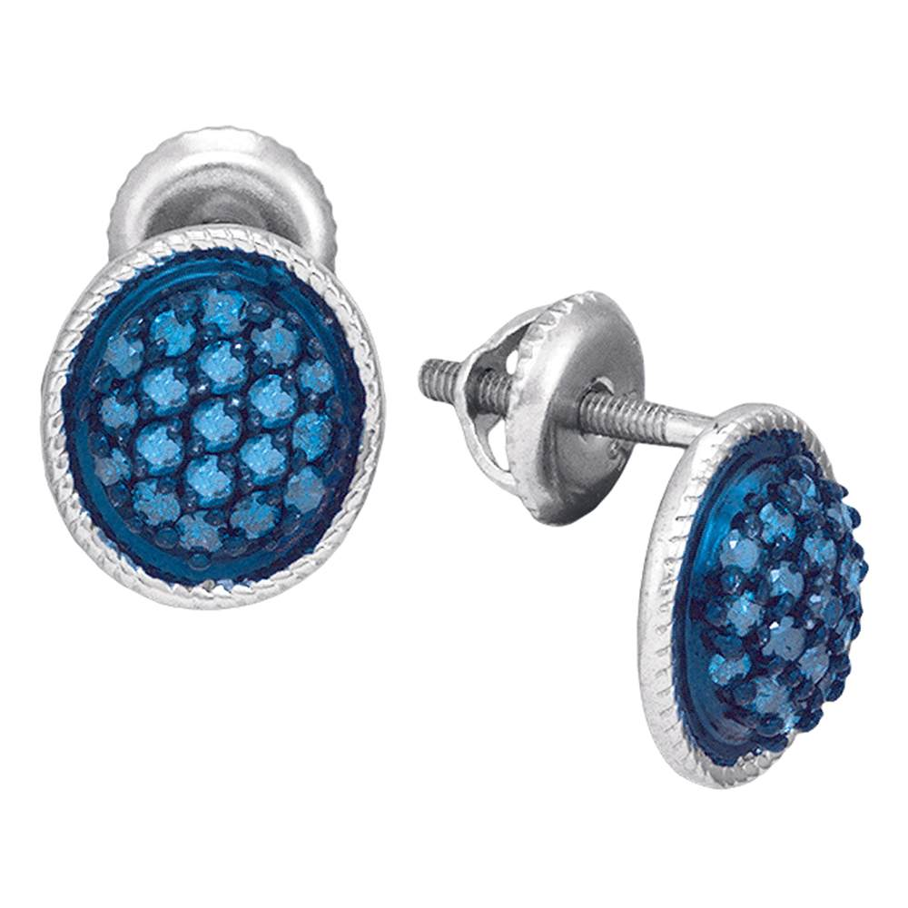 10kt White Gold Womens Round Blue Color Enhanced Diamond Oval Cluster Earrings 1/2 Cttw