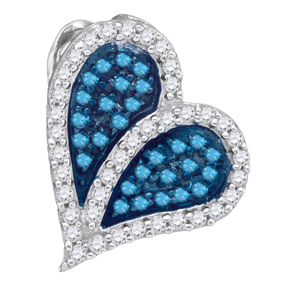 10kt White Gold Womens Round Blue Color Enhanced Diamond Heart Love Pendant 1/3 Cttw