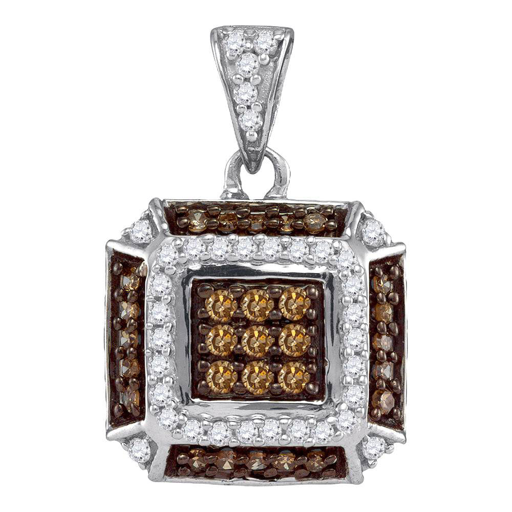 10kt White Gold Womens Round Brown Diamond Square Pendant 1/2 Cttw