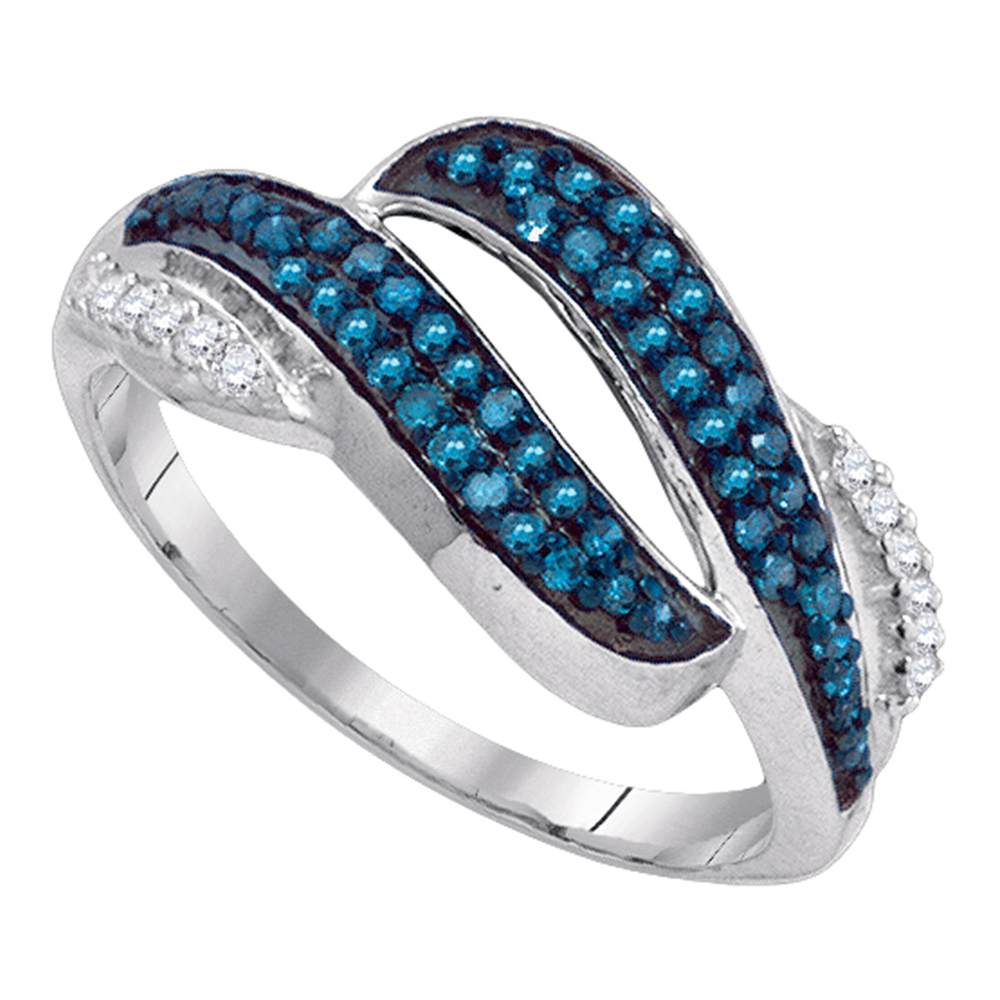 10kt White Gold Womens Round Blue Color Enhanced Diamond Bypass Double Row Band 1/3 Cttw
