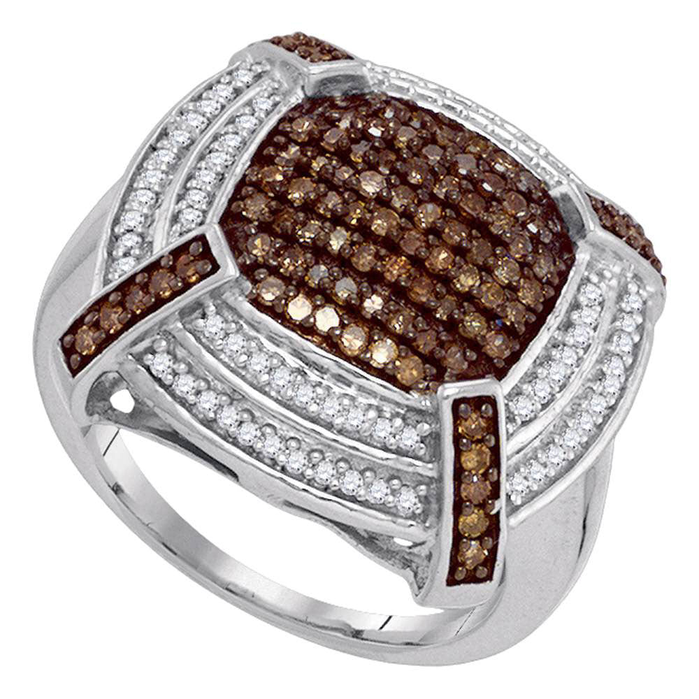 10kt White Gold Womens Round Brown Diamond Square Cluster Ring 3/4 Cttw